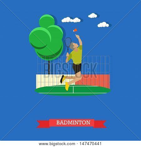 Vector illustration of male badminton player jumping and doing smash shot on the outdoor court. Sportsman trains with racket and shuttlecock outside. Flat design
