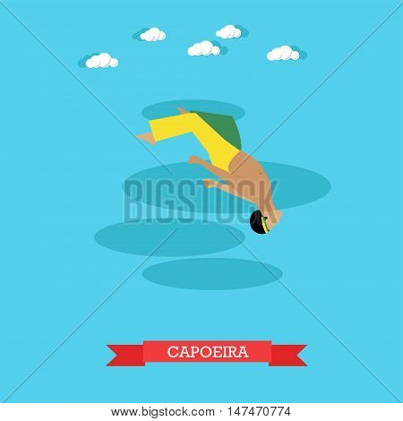 Capoeira fighter shows his skills, doing back flip in the air. Brazilian national martial art. Flat design vector illustration