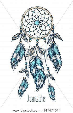 Dreamcatcher, feathers on white background. Hand drawn vector illustration.