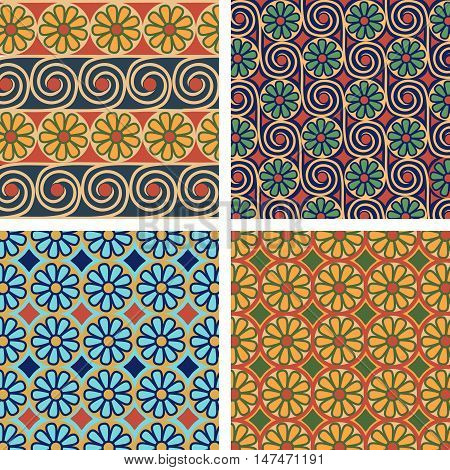 Set egyptian ornament. Background collection. Vector  illustration