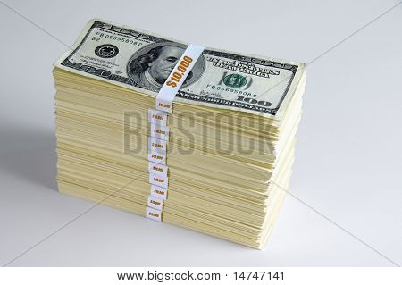 One hundred thousand dollars in one hundred dollar bills