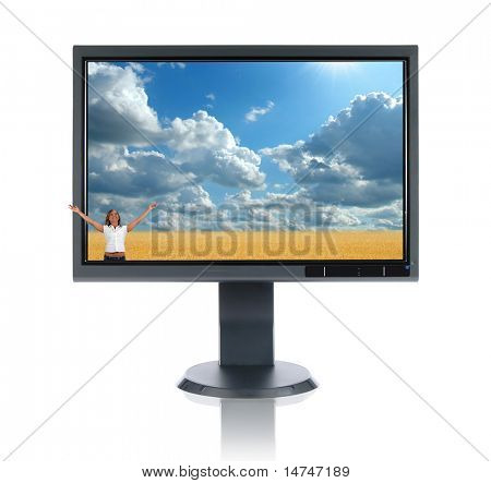 LCD monitor concept isolated over a white background