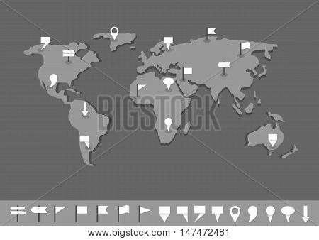 World map infographics. Systematic computational analysis of data or statistics, Grey world map with white pointers and flags
