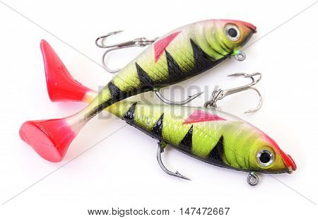 Bait for fishing - two woblers isolated on white background.