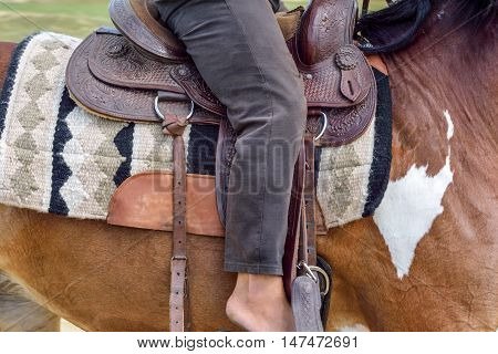 saddle on a horse close-up sitting on her rider