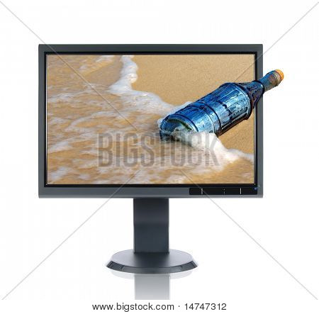 LCD monitor and message in a vintage bottle isolated over a white background