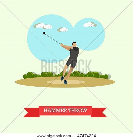 Vector illustration of hammer throw sportsman. Track and field athletics competitions. Male athlete preparing to throw a hammer. Flat design