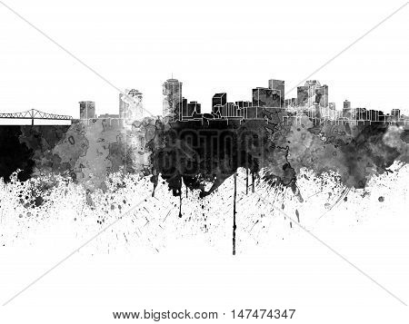 New Orleans Skyline In Black Watercolor On White Background
