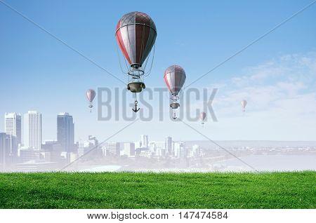 Aerostats flying over sky . Mixed media