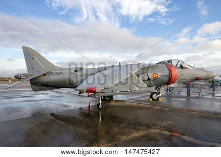 TORREJON SPAIN - OCT 11 2014: Spanish Navy Harrier fighter jet on the tarmac of Torrejon airbase.
