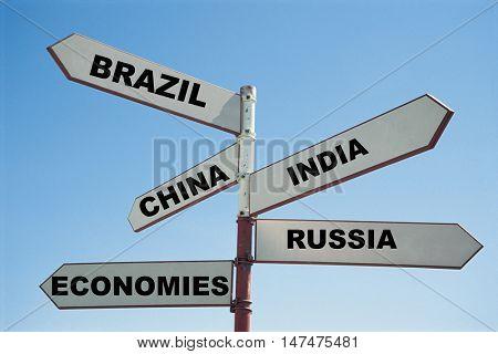 BRIC economies sign post