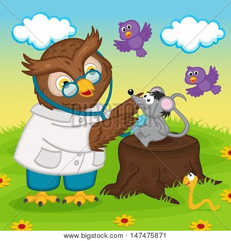owl doctor with stethoscope - vector illustration, eps