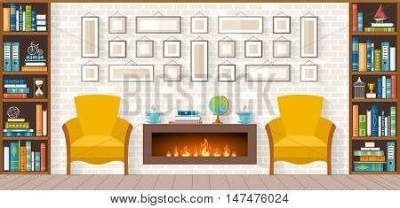 living room with furniture bookshelves fireplace paintings accessories. Flat style vector illustration Interior Design