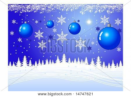 Christmas night with snow and armaments and bright star — VECTOR