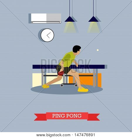 Ping-pong player trains in the club. Table tennis master fulfills his skills with paddle and ball. Vector illustration in flat design