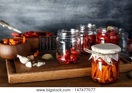 Dried Tomatoes In Glass Jars