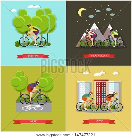 Vector set of places where you can ride bike. City, forest, park and mountains cycling. Active lifestyle. Flat design