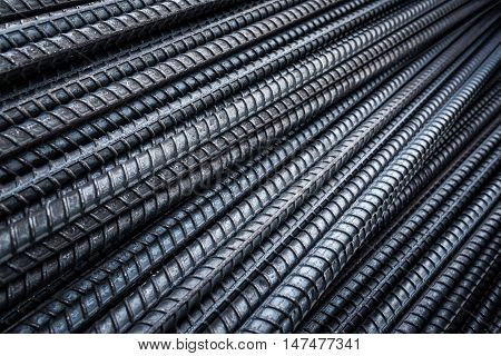Steel rebars for reinforcement concrete at stockyard