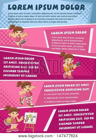 Vector brochure backgrounds with cartoon girl playing. Infographic template design.