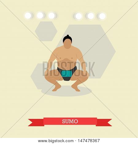Sumo wrestler ready to fight. Fat, big, overweight man. Traditional sport, martial art of Japan. Vector illustration in flat design
