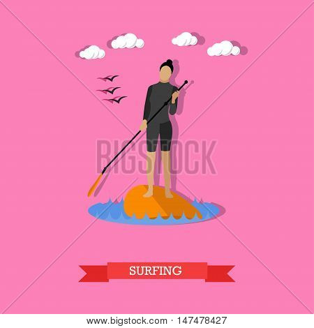 Young woman in wetsuit swim on stand up paddle board. SUP surfing. Active lifestyle. Vector illustration in flat design