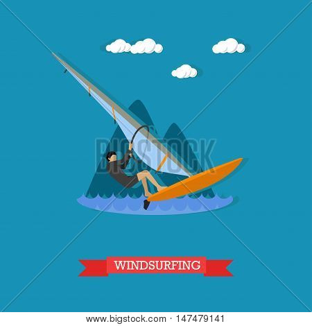 Man in wetsuit rushes on the board with sail. Windsurfing, water sport. Active lifestyle. Vector illustration in flat design