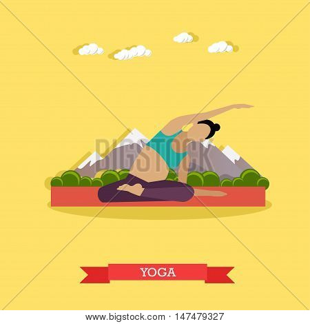 Pregnant girl practicing yoga and stretching on the mat, outdoor. Yoga practice for healthy pregnancy. Active healthcare lifestyle. Vector illustration in flat design