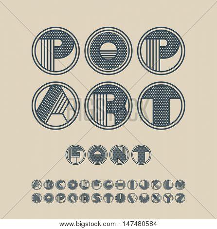 Dark blue, pop art style font.
