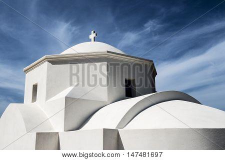 Small white chapel near Olympos village on the island of Karpathos Greece
