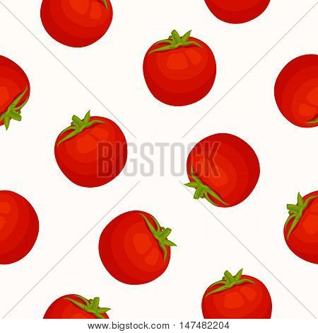Seamless pattern with a tomatoes. Vector fruit of tomato on background for fabric wallpaper wrapping textile.