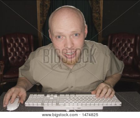 Shocked Man At Computer