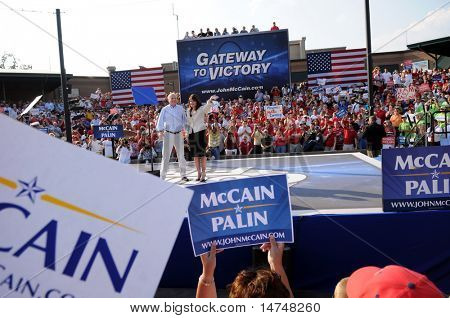 O'FALLON - AUGUST 31: Senator McCain and Saran Palin make an appearance at a rally in O'Fallon near St. Louis, MO on August 31, 2008