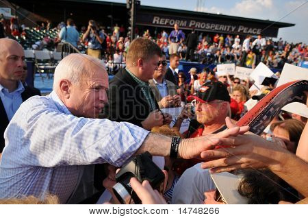 O'FALLON - AUGUST 31: Senator McCain shakes hands with supporters at rally in O'Fallon near St. Louis, MO on August 31, 2008