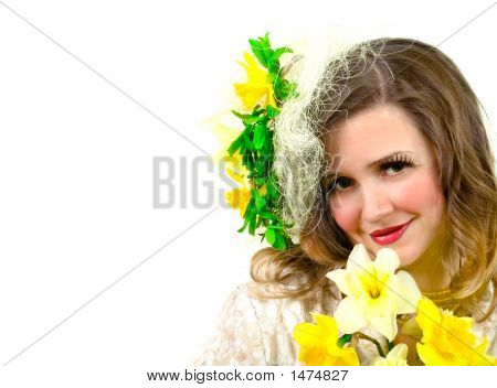 Beautiful Girl With Yellow Flowers