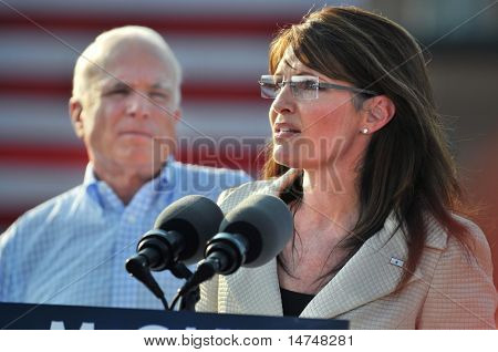 O'FALLON - AUGUST 31: Governor of Alaska and presidential Vice Presidential candidate Saran Palin at a rally in O'Fallon near St. Louis, MO on August 31, 2008