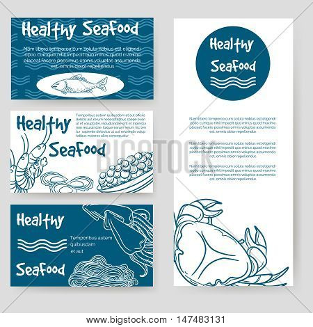 Healthy seafood flyer and personal cards design. Vector illustration