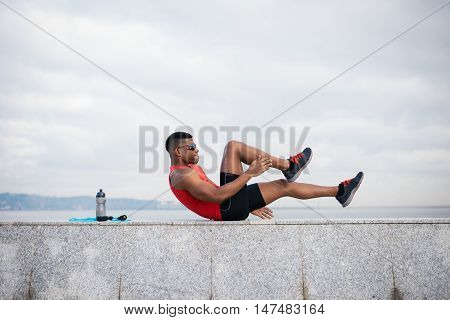 Male Athlete Doing Crunches
