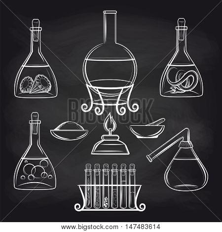 Hand drawn science lab equipment set on chalkboard vector illustration