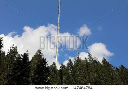 Holzgau Suspension Bridge in Lech Valley. Tirol. Austria