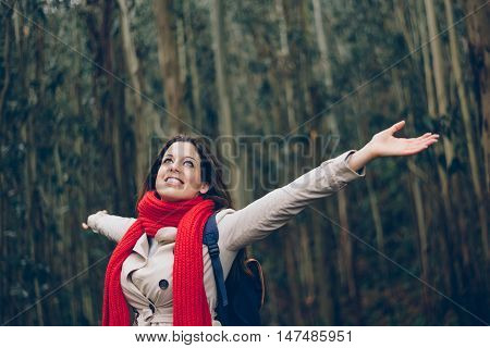 Woman Enjoying Her Getaway And Freedom In The Forest