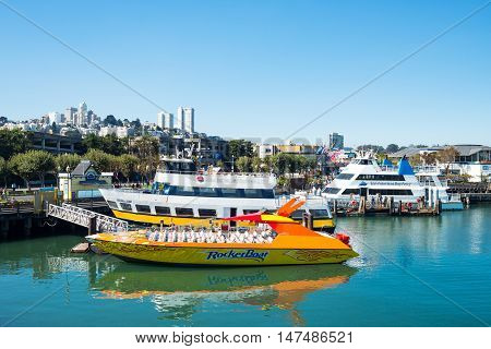 San Francisco USA - September 21 2015: A marina with boats for tourists seen from the Pier 39
