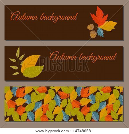 Banners set of autumn leaves vector illustration. Background with hand drawn autumn leaves. Design elements. Autumn leaves fall on banner.