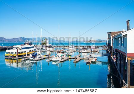 San Francisco USA - September 21 2015: Overlooking on a marina and bay from the Pier 39