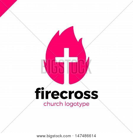 Modern Christianity Cross In Fire Or Flame Symbol In Negative Space.