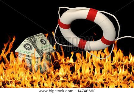 House on money, fire and life preserver