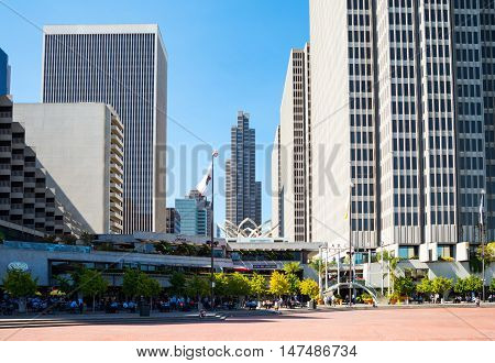 San Francisco USA - September 21 2015: The skyscrapers of the Embarcadero Center