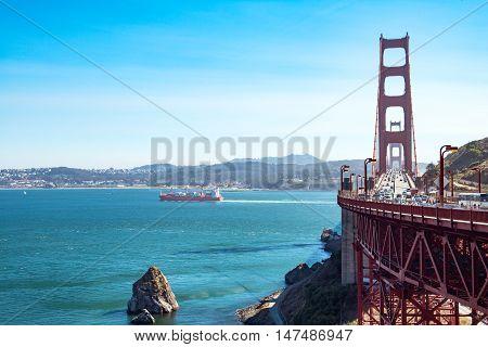 San Francisco USA - September 22 2015: The golden Gate bridge seen from the Belvedere nord