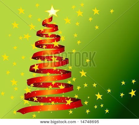 Christmas tree made of red ribbons in 7 separate layers - VECTOR