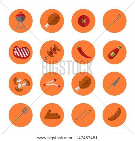 Barbecue grill icons set vector illustration. Barbecue grill, vegetables, meat, grill tools and other design elements flat style on round orange background. Design elements for grill menu. BBQ grill icons.