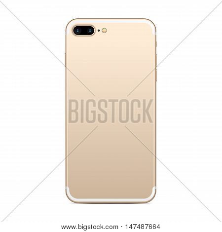 Smartphone back with golden case and dual camera